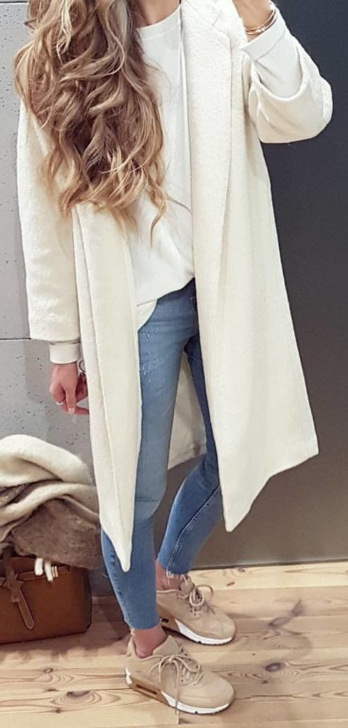 #winter #outfits white long-sleeved cardigan with white t-shirt, gray denim fitted jeans and pair of brown Nike Air Max 90's outfit