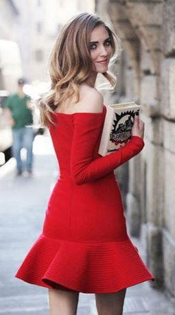 Super Cute Party Dress! Red Off Shoulder Bodycon Dress with Ruffle Hem