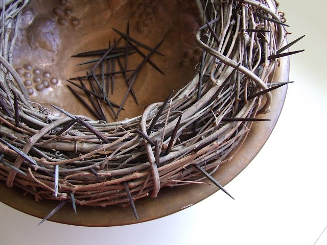 """""""A crown of thorns to adorn our table and remind us of the weight we add to his heavy crown with our sins.""""  - For Lent"""