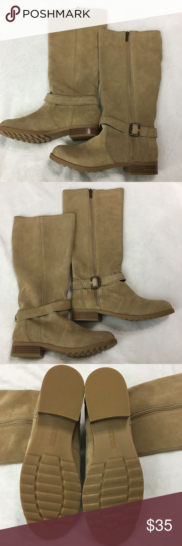 """Kenneth Cole Reaction Skinny Love Boots Size 10M This is a pair of New Without Box women's Kenneth Cole Reaction Skinny Love Tan Leather Boots Size 10M. These boots are New Without Box and have never been worn. They feature a 1"""" Block Heel and zip up sides. Please take a look at all photos for condition and if you have any questions feel free to ask. Kenneth Cole Reaction Shoes Heeled Boots"""