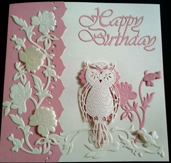 Card Making Ideas Using Tattered Lace Dies Part - 47: Card Made Using Tattered Lace Owls By Julie
