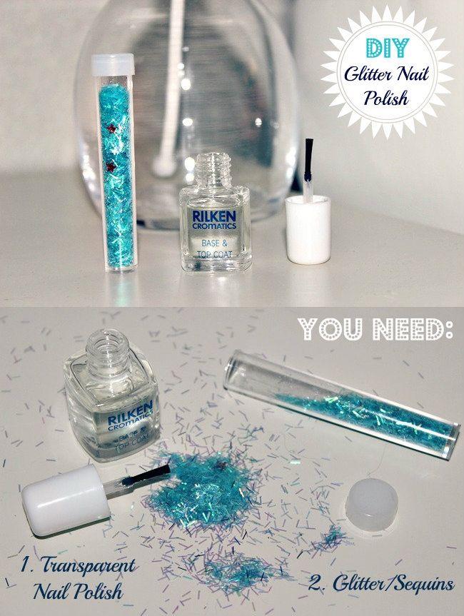 How to make DIY Glitter Nail Polish | diy nail polish ideas, glitter nail polish, nail polish with sequins