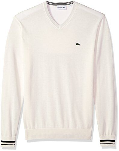 96bf747e756e Lacoste Men s Long Sleeve Semi Fancy Jersey V-Neck Sweater