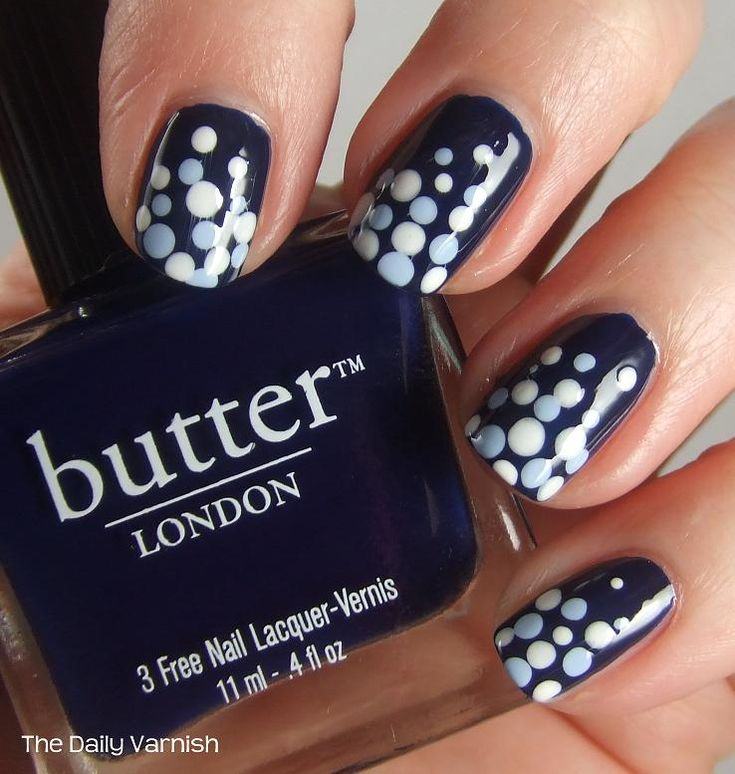 Nail Art Polka Dot Fade. Butter Royal Navy with dots in white & lt. blue. So classy!