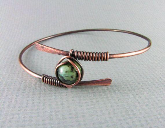 Copper Bracelet Wire Wrapped Bracelet African Turquoise Wire Wrapped Bangle Copper Bangle Wire Wrapped Jewelry