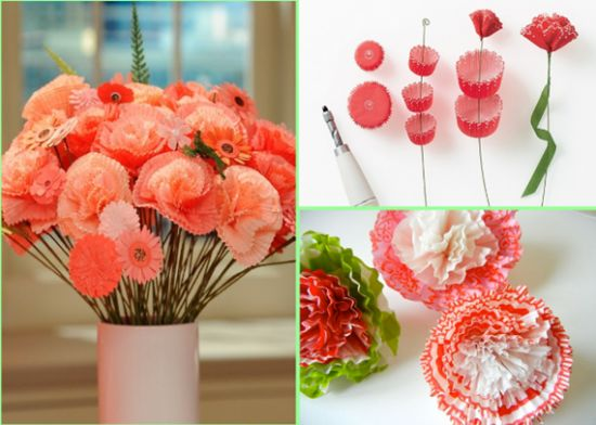 Cupcake Liner Λουλούδια Tutorial