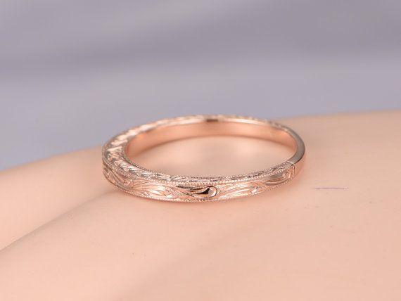 solide 14 k rose gold Ehering filigrane Memoirering von PENNIjewel