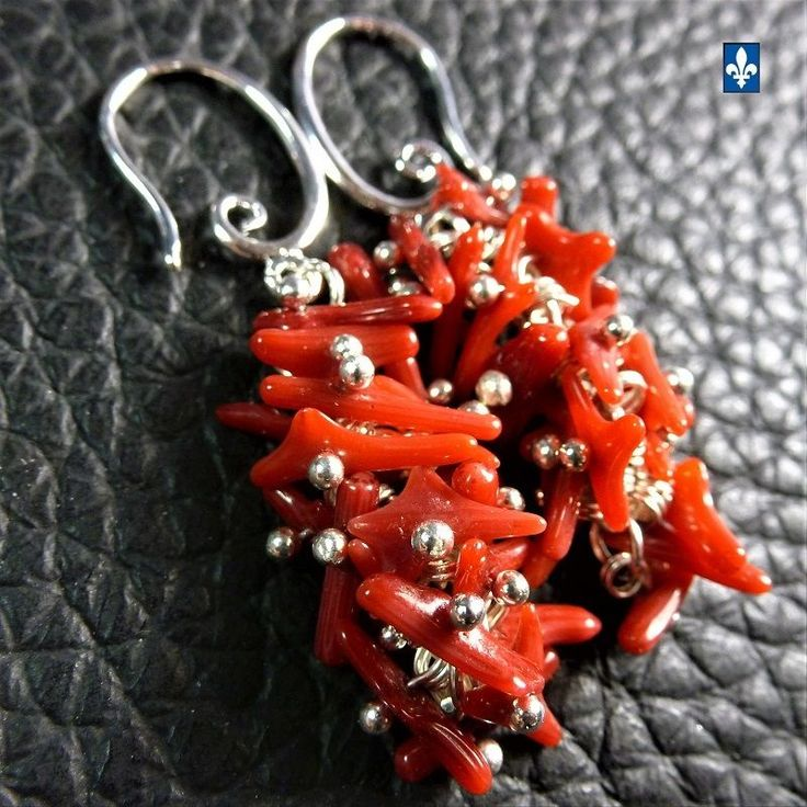 ♥ Gorgeous Red Natural Coral Cluster Plated Silver Earrings
