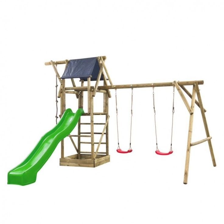 Kids Playhouse Set Ladder Slide Wooden Playground Children Green Swing Rope Toy #KidsPlayhouseSet