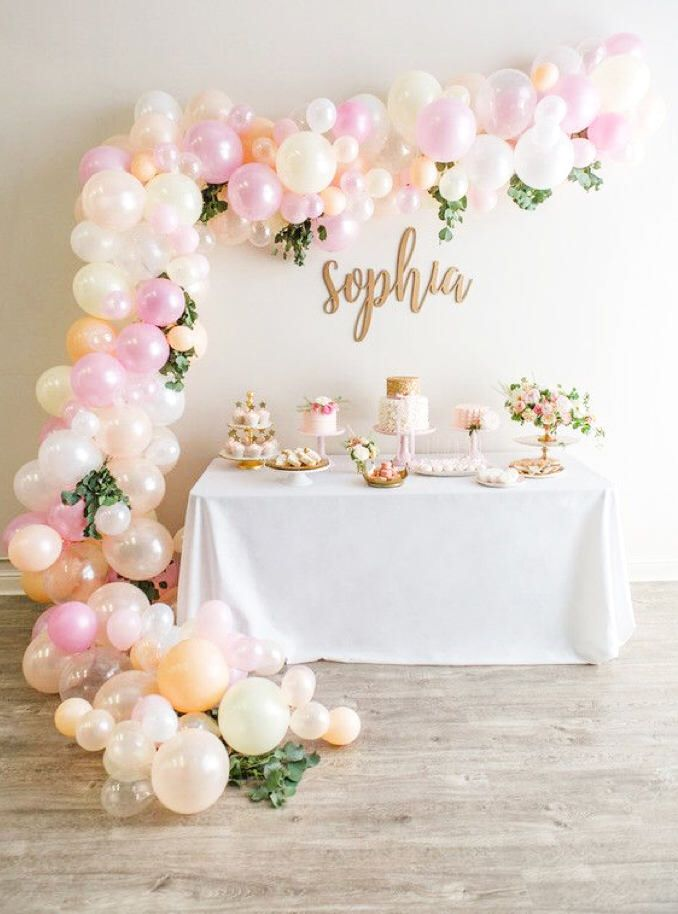 Balloon Garland Kit - Makes a Full 14 Foot Balloon Garland - Shades of Pink, Ivory, White, Blush and Peach - Bridal Shower -  Baby Shower by ChrissyBPartyShop on Etsy https://www.etsy.com/listing/569253193/balloon-garland-kit-makes-a-full-14-foot