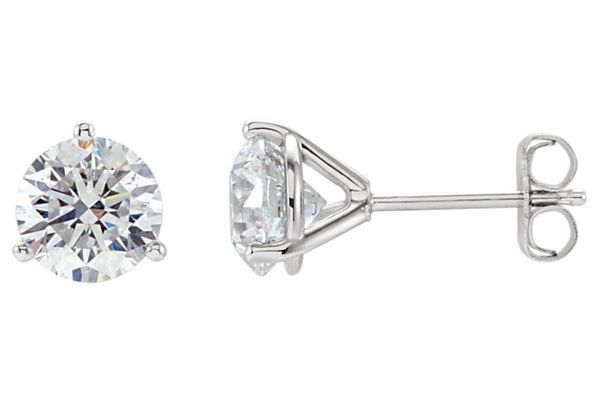 1 4 Carat 3 Prong Diamond Stud Earrings These Unique 3 Prong 1 4 Carat Diamond Stud Earrings In 14k White Diamond Earrings Studs Diamond Studs Stud Earrings