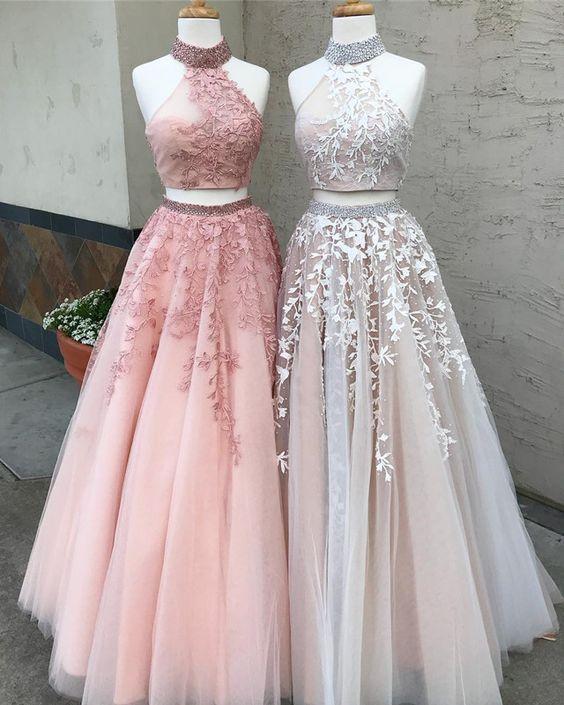prom dresses, 2018 prom dresses, two piece long prom dresses, pink 2 piece long prom dresses, white lace long prom dresses