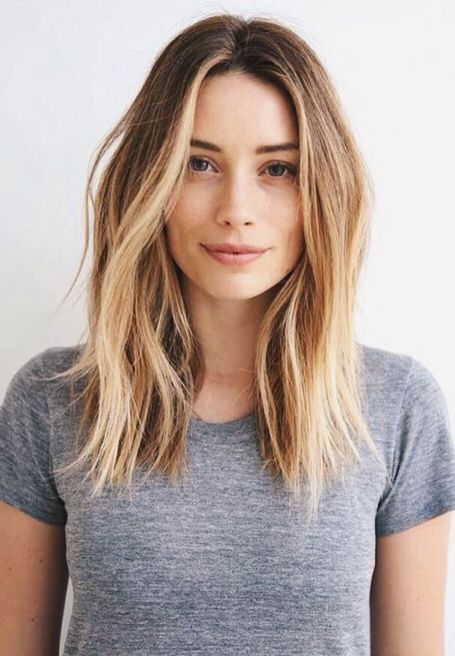 light brown to blond shoulder length hair