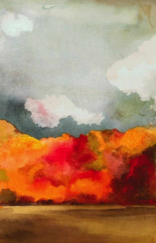 1634 - AUTUMN TREES | ABSTRACT WATERCOLOR