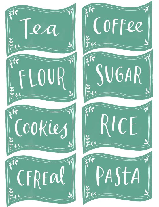 Free Kitchen organizing labels hand illustrated by Emily McDowell. Black and white chalkboard available also -:)