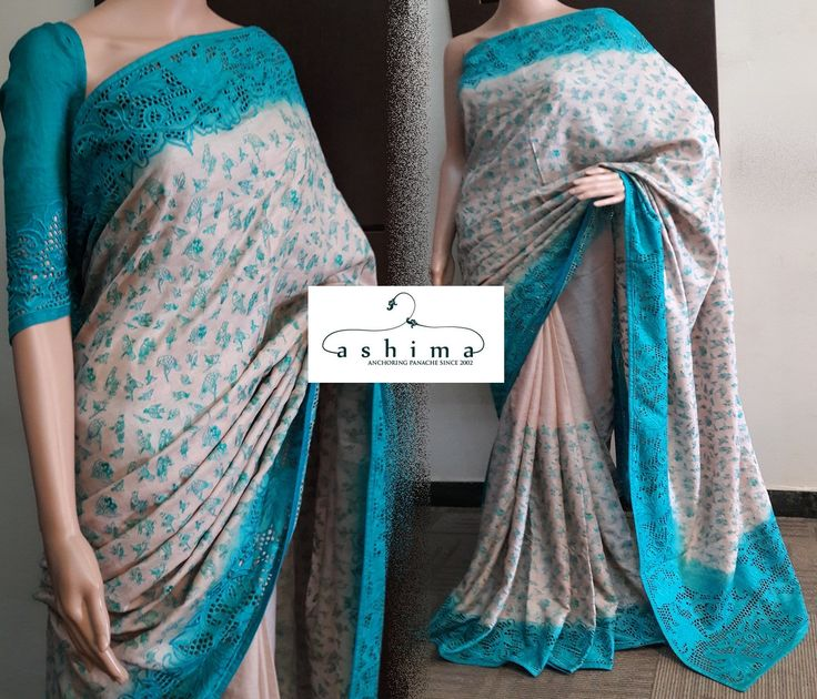 Code:2409177 - Price INR:13900/- , Tussar Silk Saree With Full Embroidered Body And Contrast Cutwork Border.
