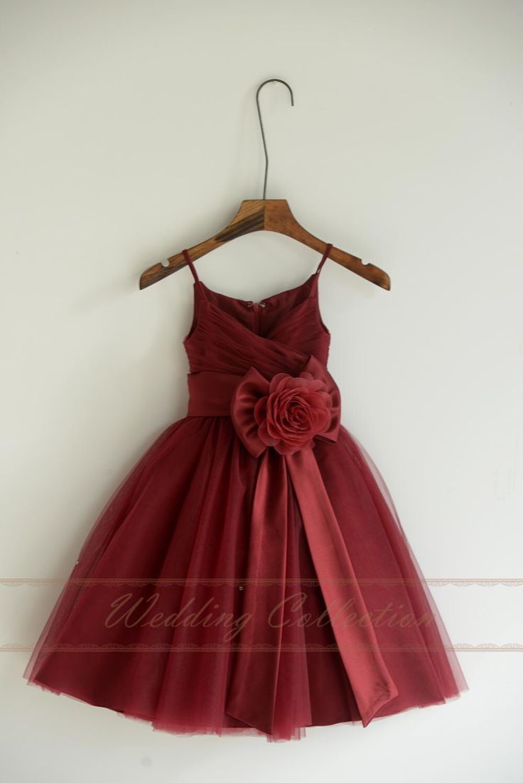 Burgundy Tulle Flower Girl Dresses, Flower Girls Dress With Sash Bow Flower by Weddingcollection on Etsy https://www.etsy.com/listing/251665118/burgundy-tulle-flower-girl-dresses
