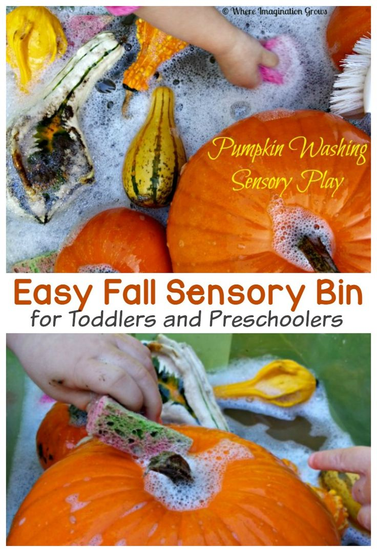 Easy Fall Pumpkin Washing Sensory Play Activity for Kids