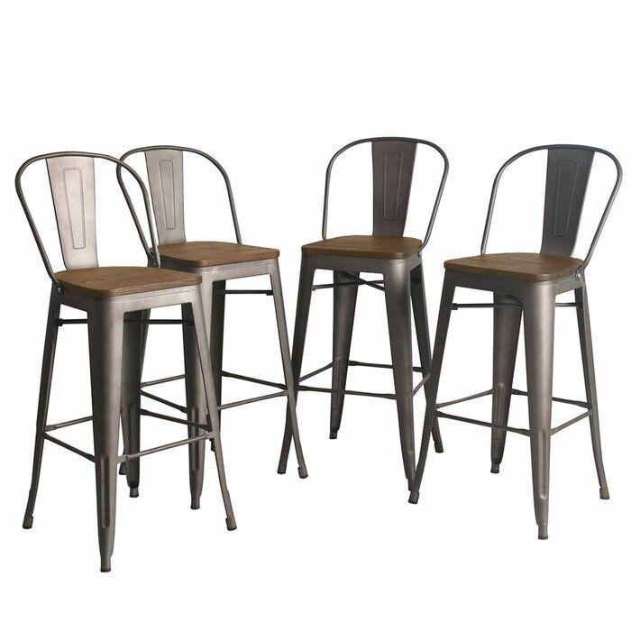 Williston Forge Rosenberry Bar Counter Stool Reviews Wayfair In 2020 Outdoor Bar Stools Metal Bar Stools Vintage Bar Stools