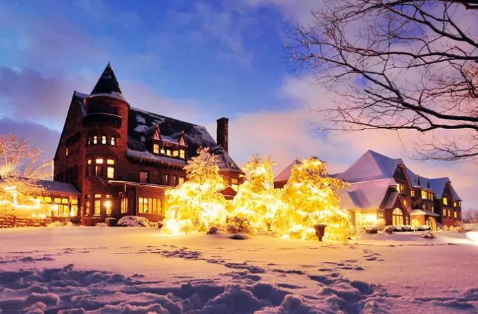 Belhurst Castle, Geneva, NY -  A romantic destination over the holidays. This grand old house, on the National Register of Historic Places,includes a winery, a restaurant, a spa, an additional guest building, and an off-site Georgian Revival farmhouse with more guest rooms.