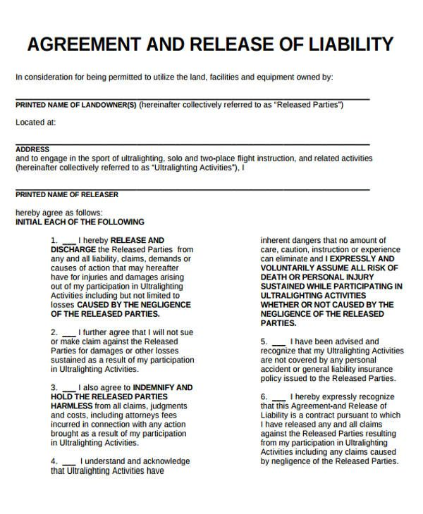 Release Of Liability Form Template General Liability