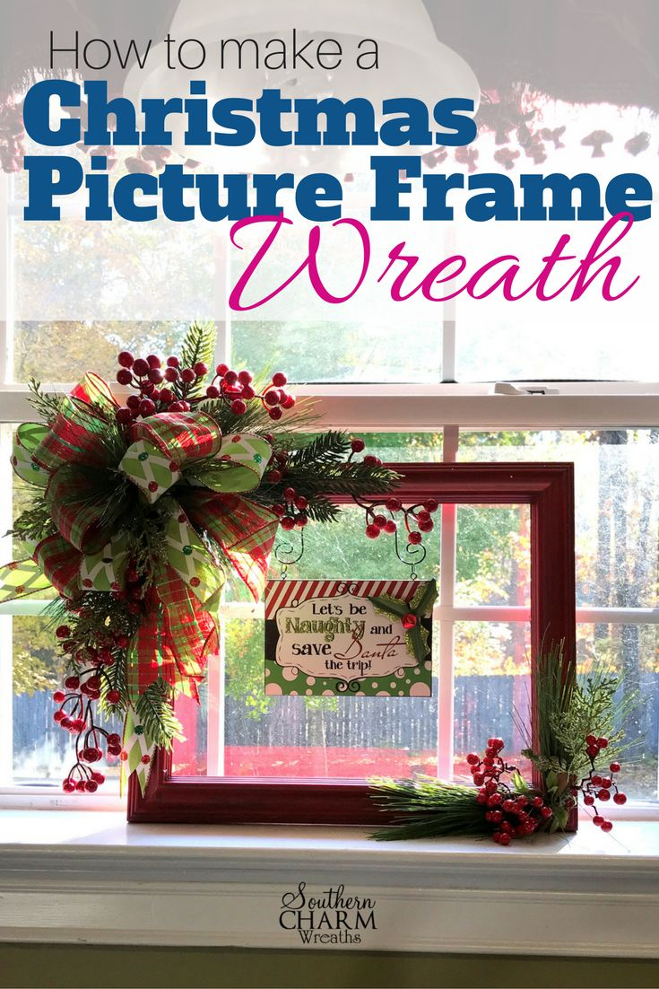 In this video, how to repurpose a picture frame to make a festive Christmas Picture Frame Wreath video here => http://southerncharmwreaths.com/blog/christmas-picture-frame-wreath/