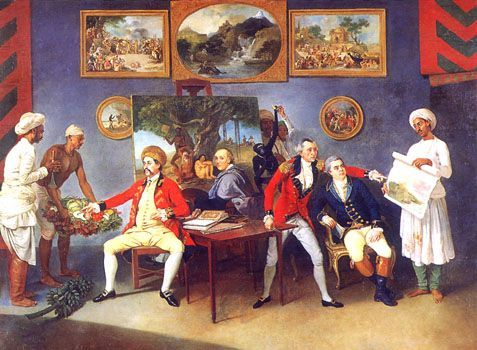 """Zoffany - Self-portrait - Johann Zoffany specialised in group portraits, often """"conversation pieces"""" with gentle narrative content, and spent some years in India. c. 1786."""