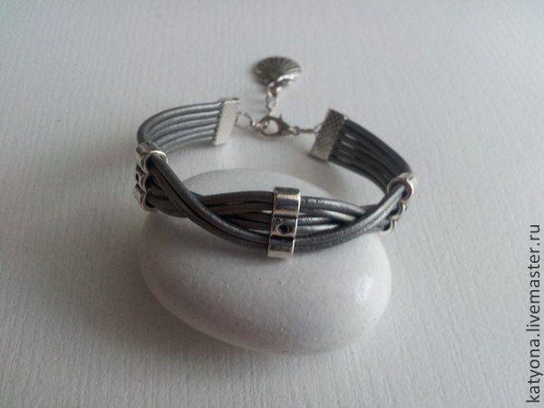 """Купить Кожаный браслет """"Silver ice"""" - серебристый, браслет, браслеты, кожаные украшения, кожаные аксессуары"""