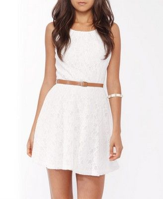 Lace Fit & Flare Dress w/ Belt | FOREVER 21 - 2017305759