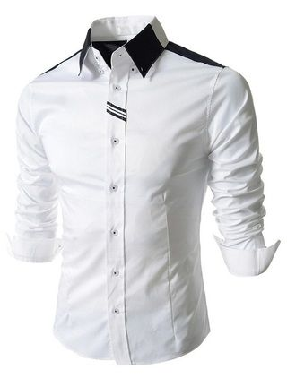 Camisa Casual Elegante - Manga Larga - Blanca y Gris