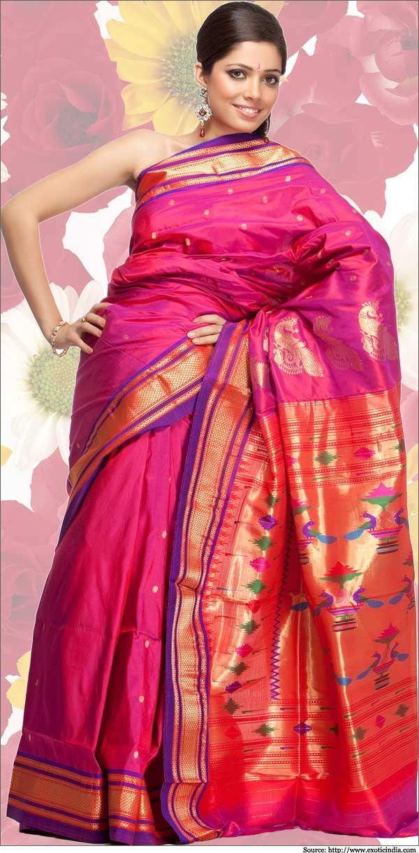 Paithani Sarees are famous silk sarees manufactured in Paithan, Maharashtra. These sarees are mainly hand woven and have a distinguishing border. Read more.