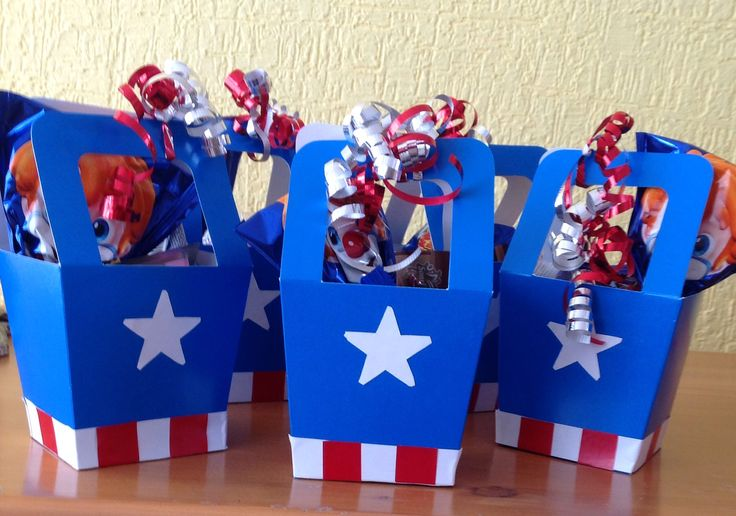Idea for Capitan America  party favors// cajitas de dulces fiesta temática capitán América