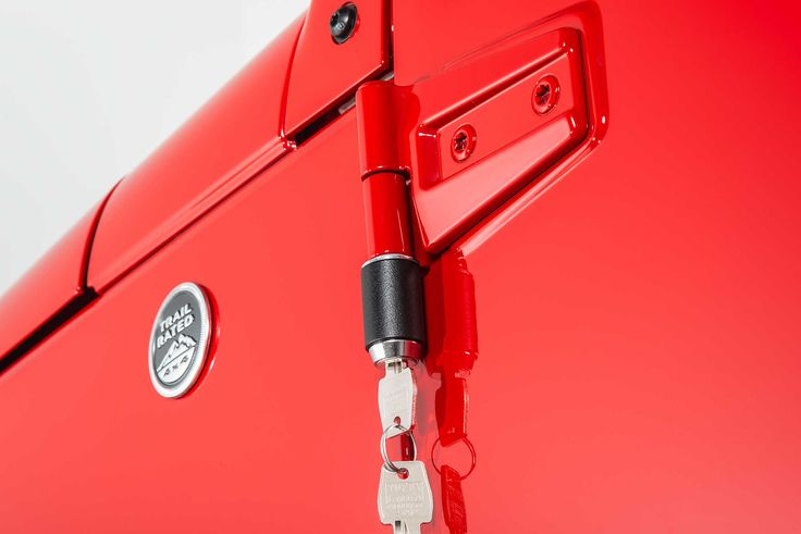 These external door lockers provide theft protection for otherwise vulnerable Jeep JK hard doors.  The door lockers function to prevent the expensive doors from being lifted off and resold for big bucks.