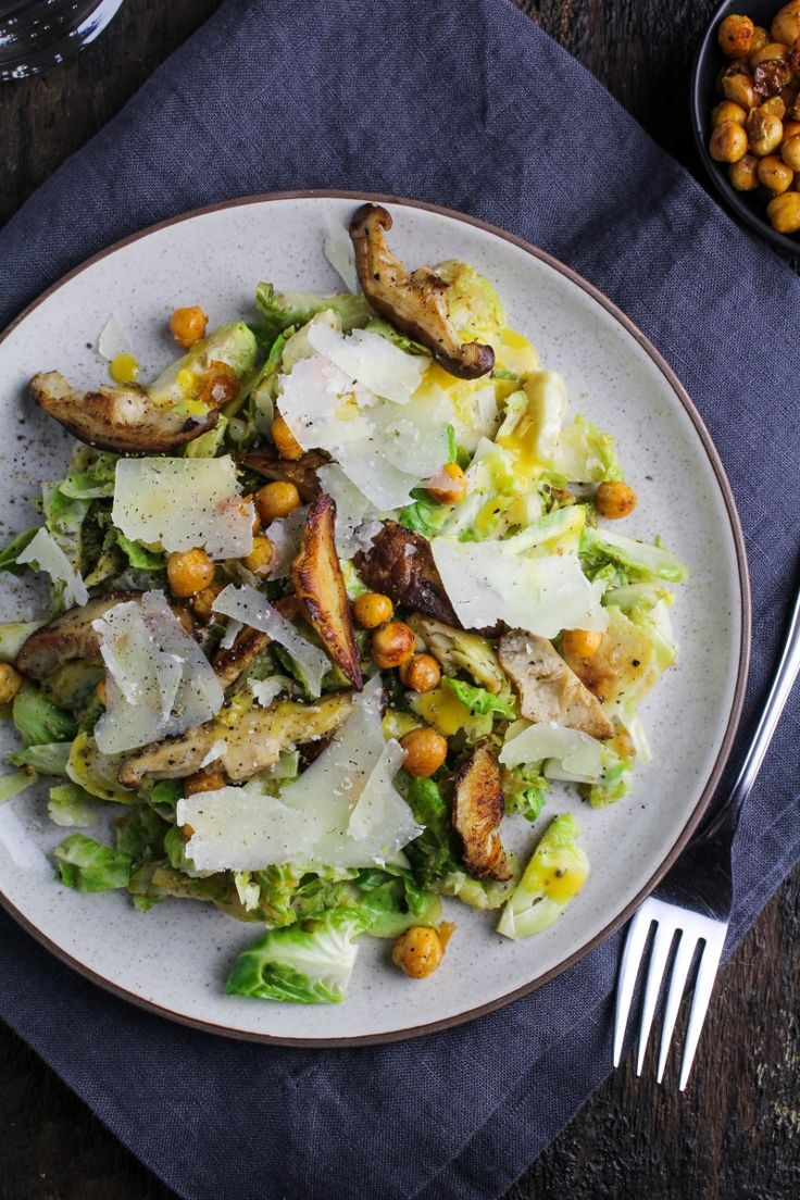 Brussels Sprout Caesar Salad with Shiitake Mushrooms and Roasted Chickpeas