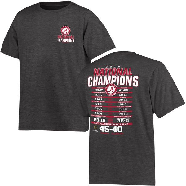 Alabama Crimson Tide Youth College Football Playoff 2015 National Champions Schedule T-Shirt - Charcoal - $18.99