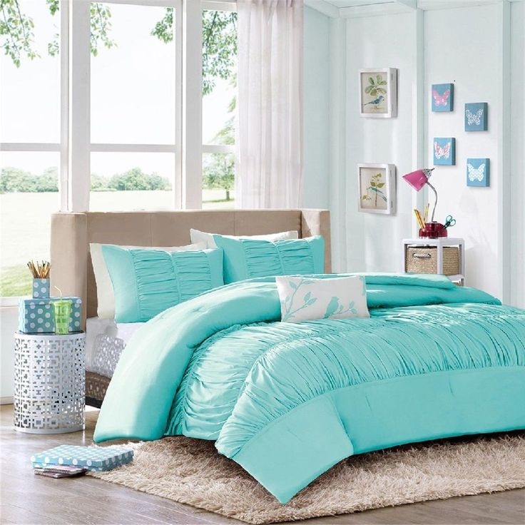 Comforter Sets for Teen Girls Tiffany Blue Bedding Aqua Blue Teal Ruffled Ruched | eBay