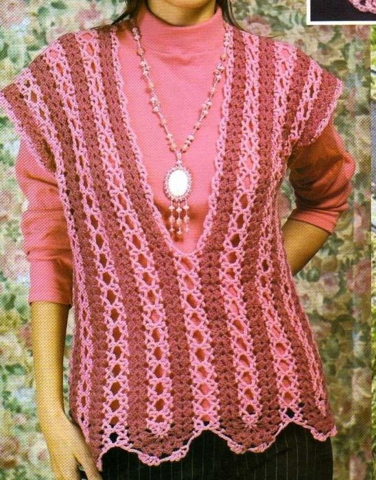Mile-a-minute crochet top with diagram site is in russian but there is a diagram
