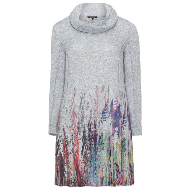 Twister Grey / Multicolour Plus Size Roll neck A-line dress ($130) ❤ liked on Polyvore featuring dresses, grey, plus size, fitted dresses, gray dress, women's plus size dresses, plus size knit dresses and a line dresses