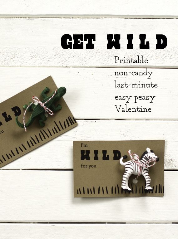 Free Printable Cards from Sarah Jane's Studio! Just add a plastic animal for your Valentine :)