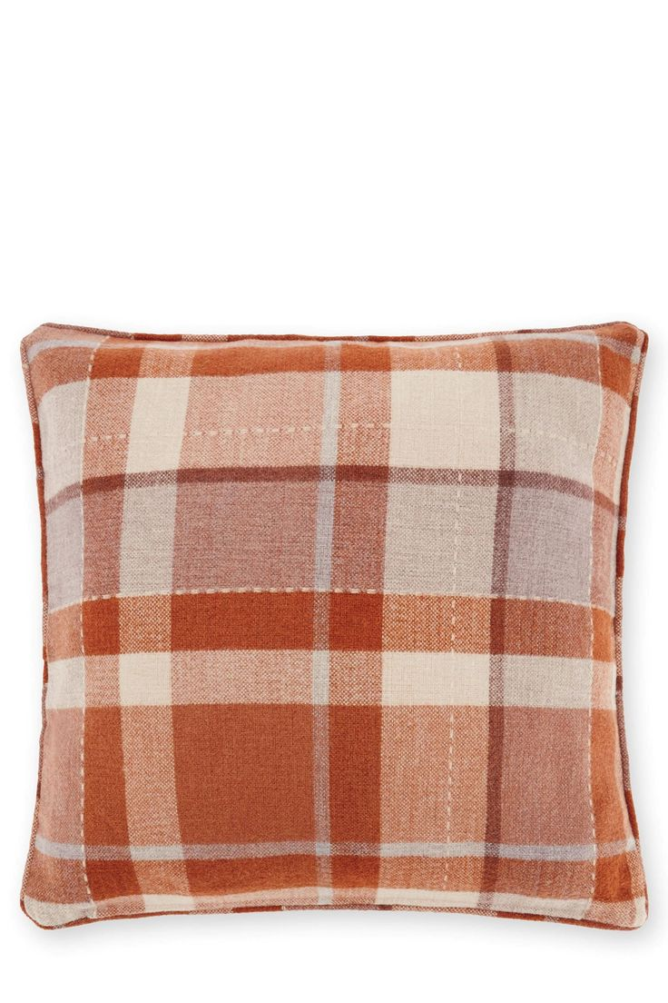 Buy Large Ginger Rustic Woven Check Cushion from the Next UK online shop