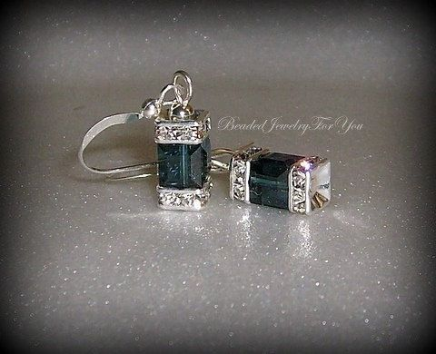 Montana Blue Swarovski Crystal Cube Earrings