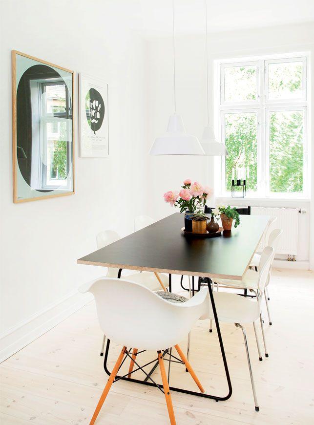 scandinavian home_metal frame plywood top dining table