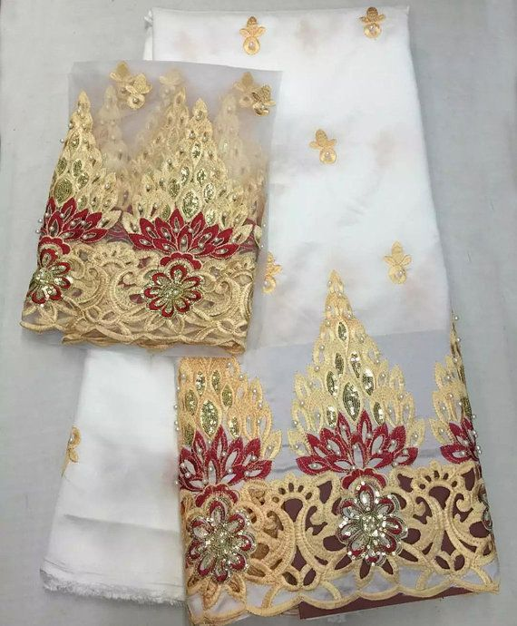 Luxury beaded matched African george lace igbo bride  fabric