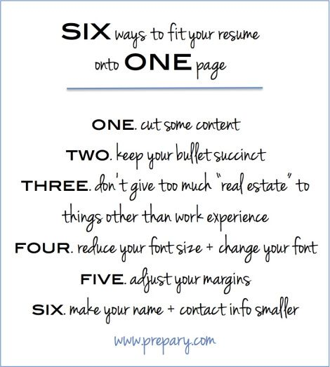 6 ways to fit your resume on one page preparycom