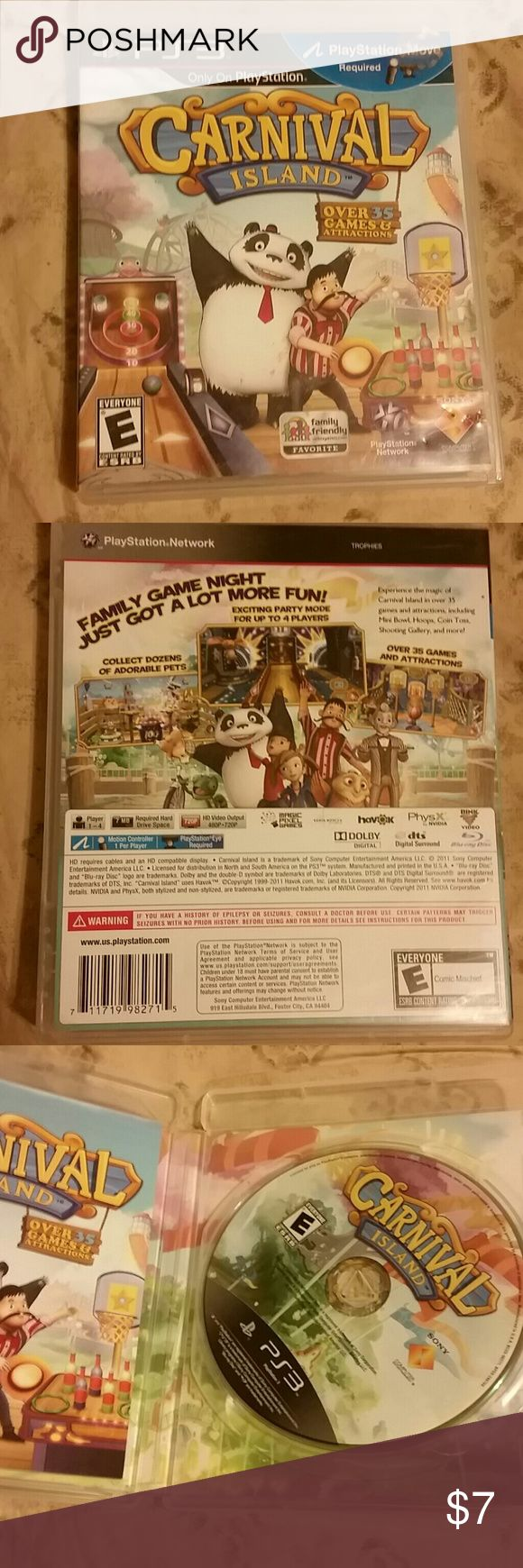 PS3 game, Carnival Island Rated E for everyone,  does require Playstation Move in order to play. Excellent condition,  just didn't have the part needed for the game. Playstation 3 Other