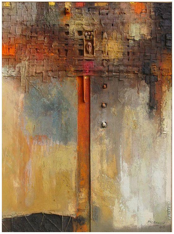 """Philippe Rillon - """"Architexture, très sage, (1)"""", huile et technique mixte sur toile, 81x60cm, 2005."""