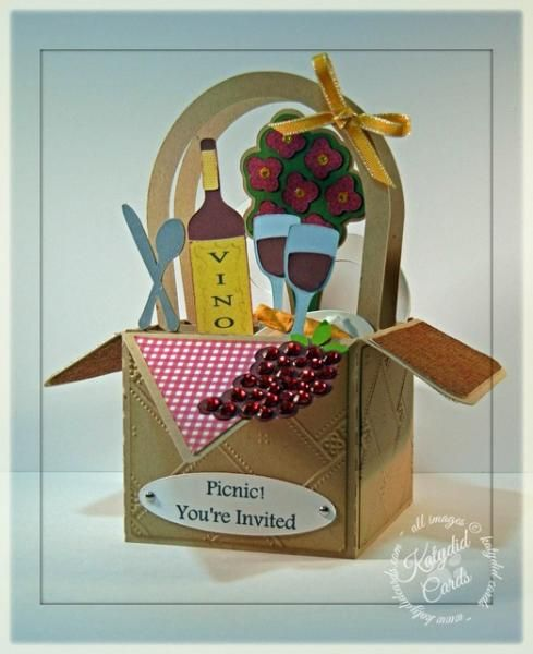 Picnic! by CalicoCat609 - Cards and Paper Crafts at Splitcoaststampers - Summer Box Cards SVG Kit - Picnic Box Card #svgcuts