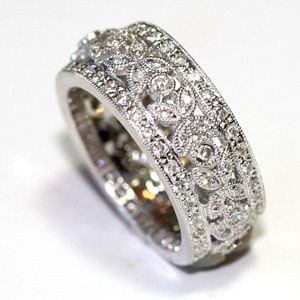 Wide Designer Diamond Wedding Band Vintage Pave Milgrain 1 08 Ct WB8271 | eBay