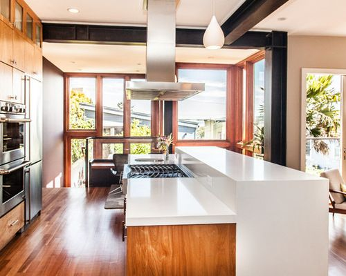 two tiered island with waterfall countertop - Google ...