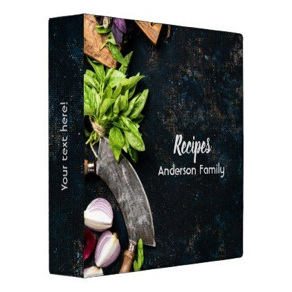 Rustic cookbook binder dark canvas herbs food - rustic gifts ideas customize personalize